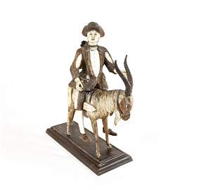 A Rare Simon Troger Tailor on Goat Carving