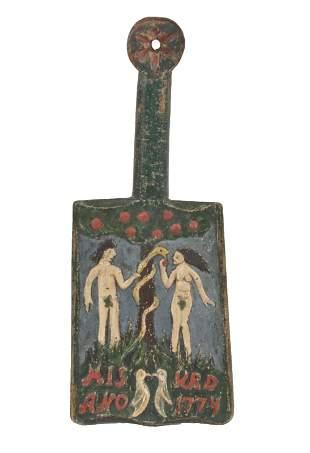 """18th Century """"Adam and Eve"""" Danish Washing Bat"""