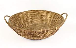 LARGE RYE BASKET WITH BENTWOOD HANDLES