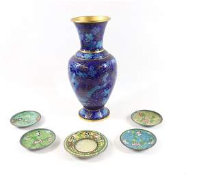 CLOISONNE VASE AND SAUCERS