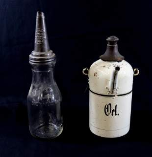GLASS AND GERMAN METAL OIL CANS