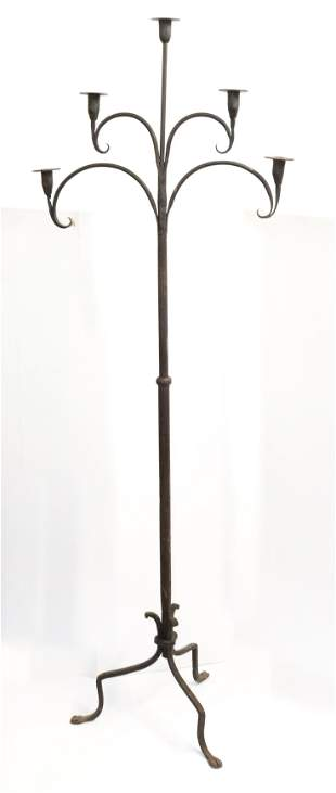 WROUGHT IRON CANDLE FLOOR CANDLE STAND