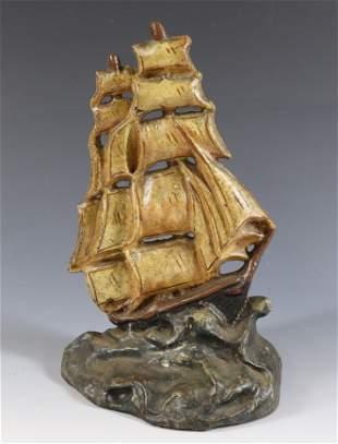 CAST IRON SAILING SHIP DOORSTOP