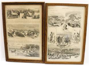 PAIR OF FRAMED HARPER'S WEEKLY PAGES