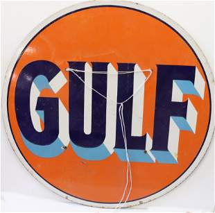 DOUBLE SIDED PORCELAIN GULF GASOLINE SIGN