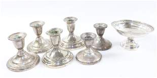 GROUP LOT OF STERLING SILVER CANDLEHOLDERS