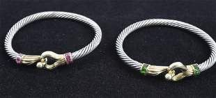 (2) 14KT. AND STERLING BANGLES