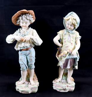 PAIR OF LARGE BISQUE FIGURES
