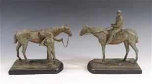 PAIR OF HORSE/JOCKEY BOOKENDS