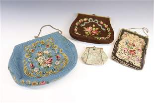 VINTAGE NEEDLEPOINT PURSE AND WALLET LOT