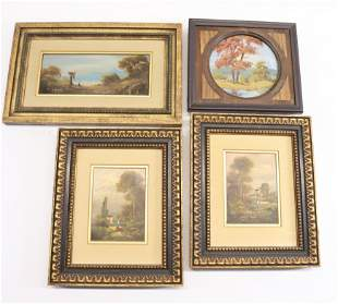 GROUP OF FOUR FRAMED PAINTINGS