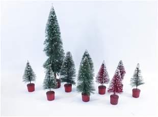 GROUP LOT OF BOTTLE BRUSH CHRISTMAS TREES