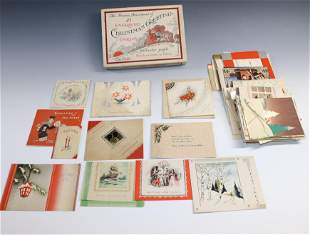 GROUP LOT OF VINTAGE CHRISTMAS CARDS AND BOX