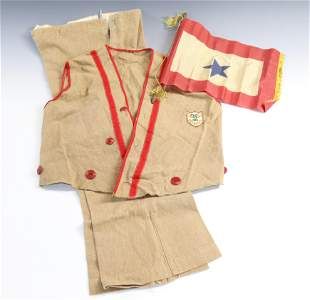 VINTAGE 1932 CHILD'S OLYMPICS OUTFIT AND SOLDIER BANNER