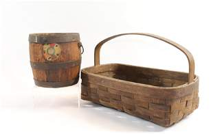 WOVEN BASKET AND WOODEN BUCKET