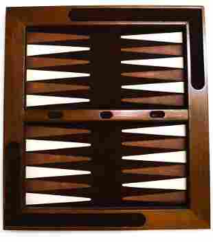 WOOD AND SUEDE BACKGAMMON BOARD