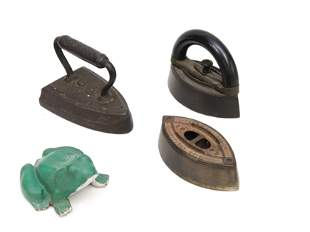 SAD IRONS AND CAST IRON FROG