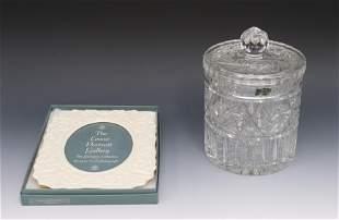 LEAD CRYSTAL BISCUIT JAR AND LENOX FRAME