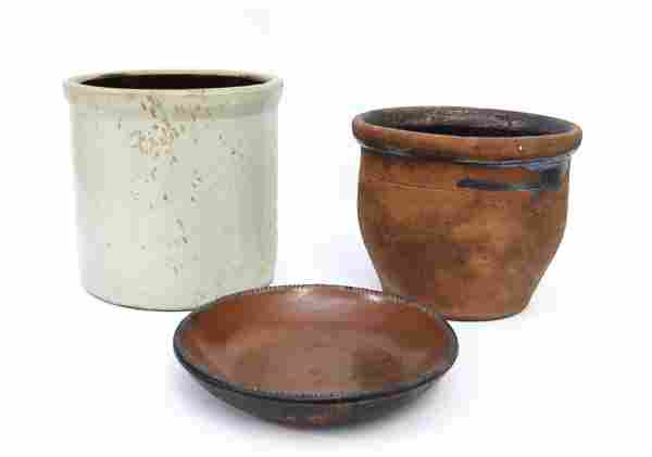 REDWARE POTTERY AND STONEWARE LOT
