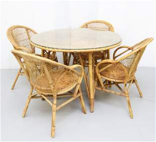 ROUND WICKER TABLE AND CHAIRS