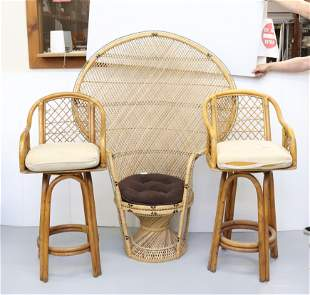 WICKER CHAIR AND BARSTOOL LOT