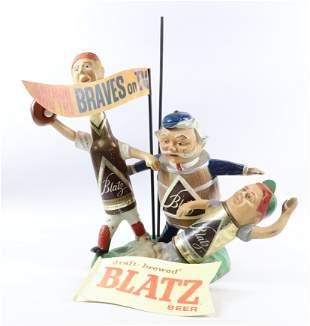 VINTAGE BLATZ BEER MILWAUKEE BRAVES CAST METAL DISPLAY
