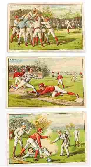 (3) VICTORIAN BASEBALL ADVERTISING TRADE CARDS
