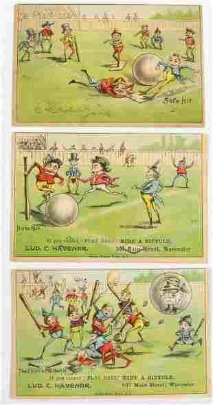 (3) VICTORIAN BASEBALL BROWNIES ADVERTISING TRADE CARDS