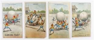 (4) VICTORIAN BASEBALL BROWNIES ADVERTISING TRADE CARDS