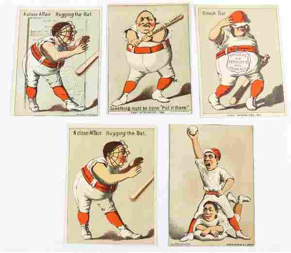 (5) VICTORIAN BASEBALL ADVERTISING TRADE CARDS