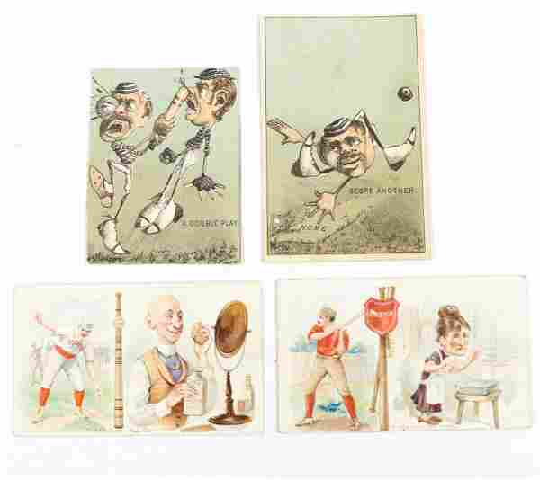 (4) VICTORIAN BASEBALL ADVERTISING TRADE CARDS