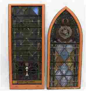 (2) VINTAGE STAINED GLASS WINDOWS