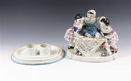STAFFORDSHIRE FIGURAL INKWELL
