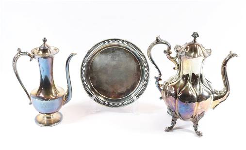 EARLY SILVER PLATE GROUPING