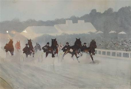 VINTAGE OIL PAINTING ON TIN OF HORSE RACE