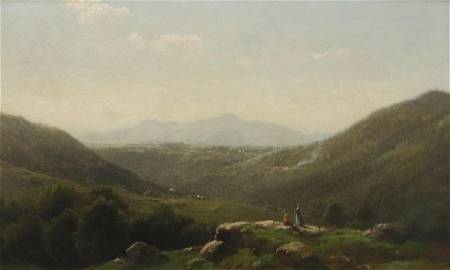 JOHN BUNYAN BRISTOL (1826-1909, AMERICAN) FRAMED OIL ON