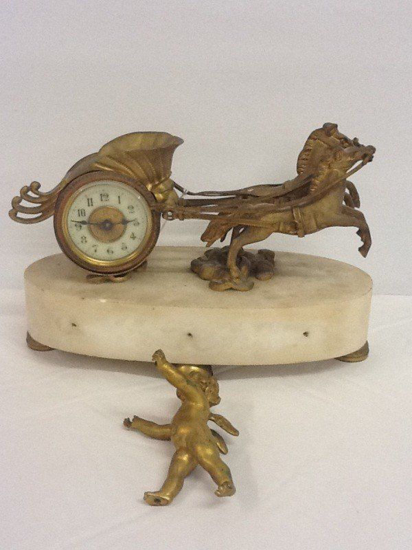 57: BRASS CHARIOT MANTLE CLOCK WITH DISCONNECTED CHERUB