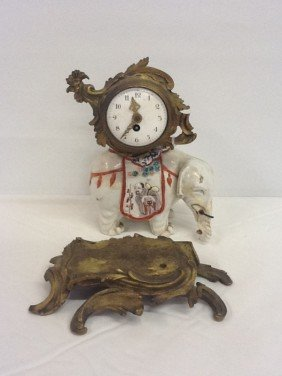 PORCELAIN EXPORT ELEPHANT MANTLE CLOCK WITH FRENCH