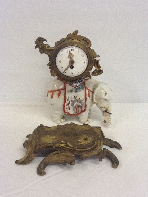 58: PORCELAIN EXPORT ELEPHANT MANTLE CLOCK WITH FRENCH