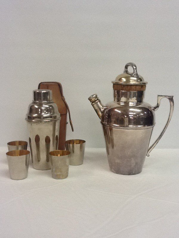 67:  (2) COCKTAIL SHAKERS - 1 NICKEL SILVER W/ HANDLE 9