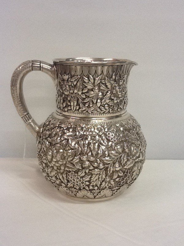 82:  TIFFANY & CO. REPOUSSE PITCHER 1890 - 4706 MAKERS