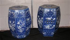 219: PR. CHINESE BLUE AND WHITE PORCELAIN GARDEN STOOL
