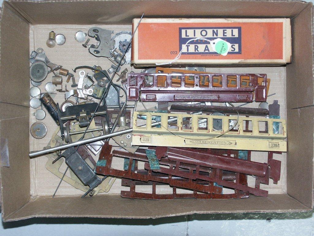 12: BOX LOT OF MISC PRE-WAR TRAIN PARTS LOT HAS NORMAL