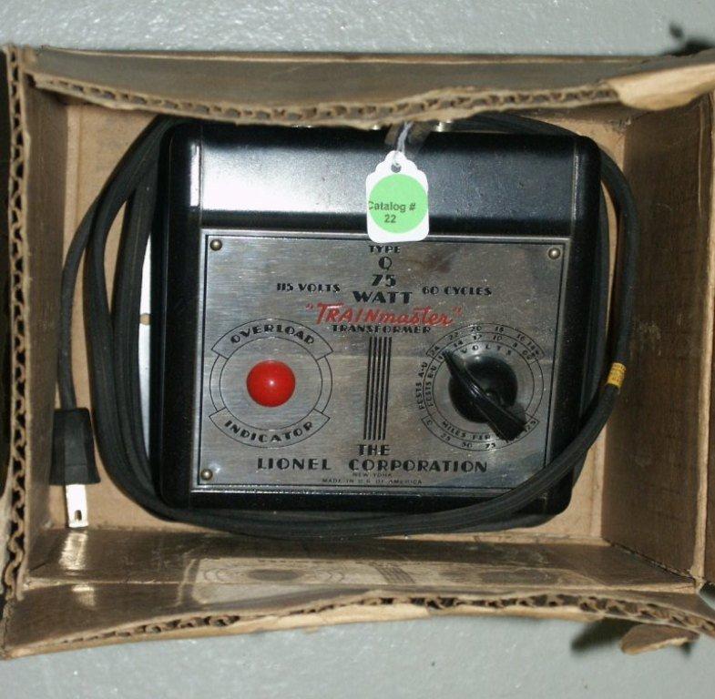 22: BOX LOT OF TRAIN ITEMS LIONEL 75 WATT TRANSFORMER B