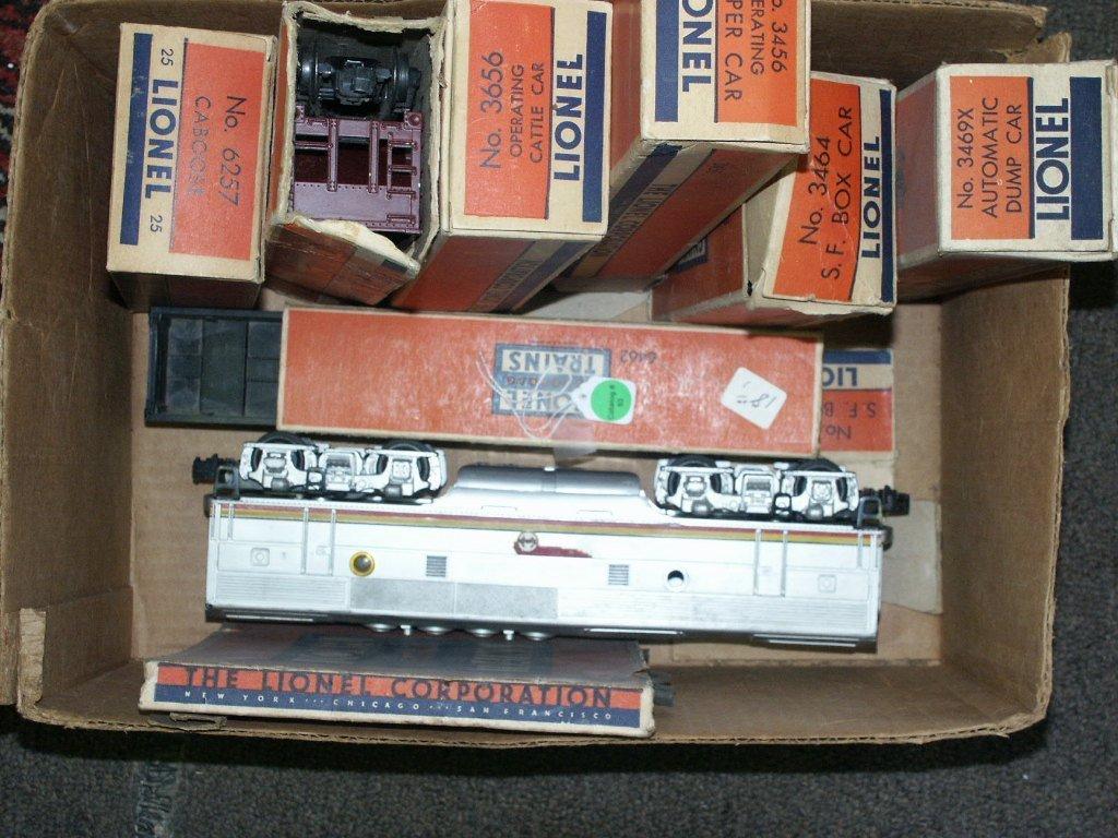 53:   BOX LOT OF LIONEL TRAINS 3656, 6456, 6257, 3464,