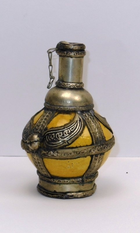 6: Mid Eastern Pottery & Metal Bottle
