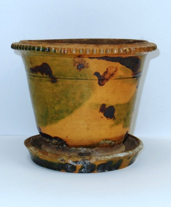 7: Redware Flower Pot with attached saucer.  19th Centu