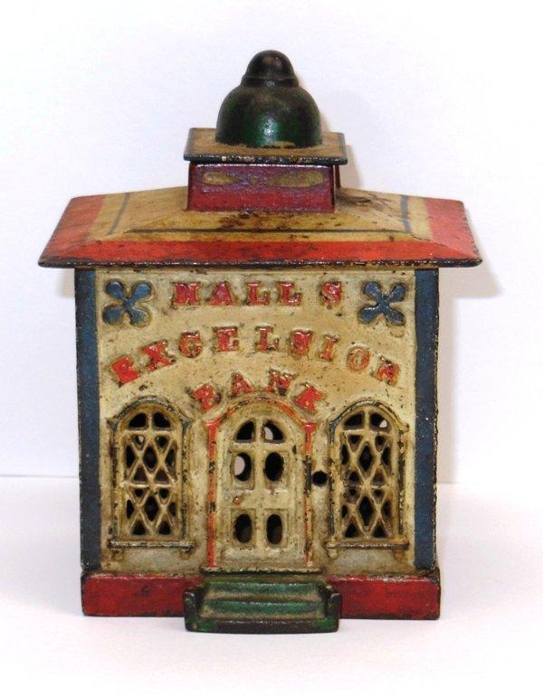 "8: Mechanical Bank Building in Original Paint ""Halls' E"