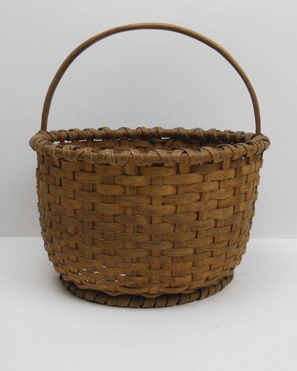 13: Basket with Handle Oak Splint 19th Century