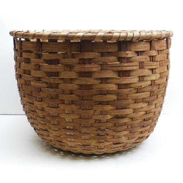15: Large 19th Century Oak Splint Basket